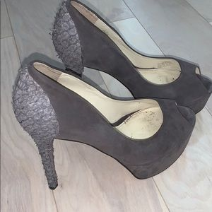 B Brian Atwood suede peep toe pumps